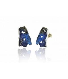 Kolczyki INTENZZA duże Electric Blue srebro