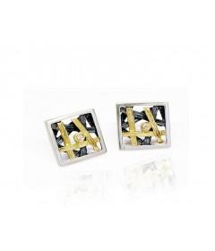 Kolczyki MORFEO srebro złoto brylant